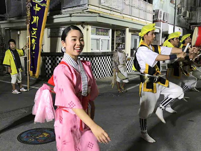 Eisa dancers performing for Obon season in Okinawa, Japan