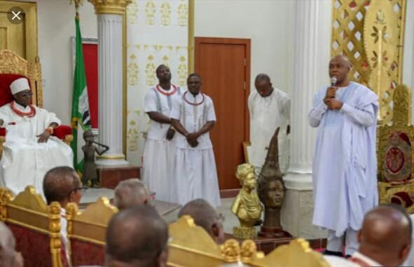 2019: Bukola Saraki Visits Oba Of Benin (Photos)