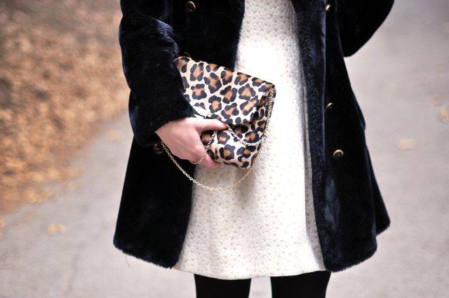 Cynthia Steffe Dress, Vintage coat, Lauren Merkin leopard print bag, Kara Ross necklace