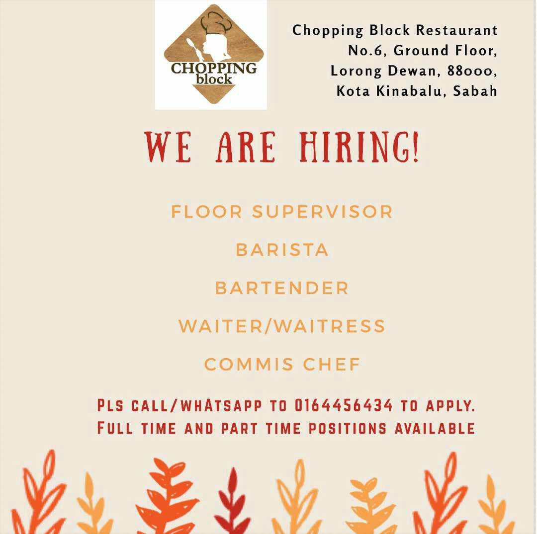 Floor Supervisor, Barista, Bartender, Waiter/Waitress