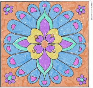Student drawing using radial symmetry and flowers