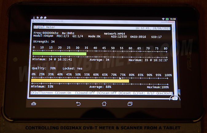 Controlling DigiMax DVB-T Meter & Scanner from a Tablet