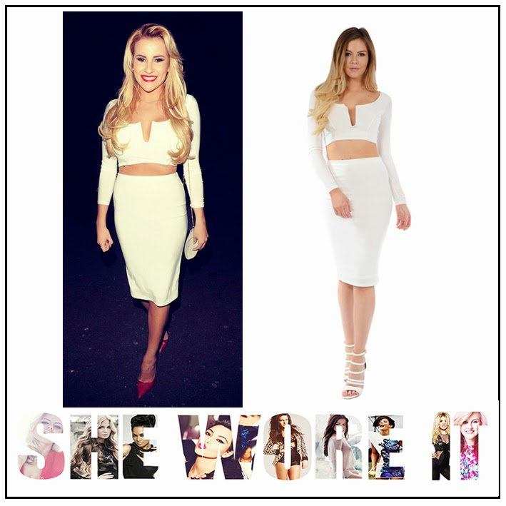 Bodycon, Bright, Celebrity Fashion, Co-Ord, Co-ords, Crop Top, Georgia Kousoulou, High Waisted, INTHESTYLE, Long Sleeve, Midi Skirt, Pencil Skirt, Plunge Front, Skirt, The Only Way Is Essex, TOWIE, White,