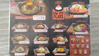 Daftar menu utama yang disediakan Ow My Plate