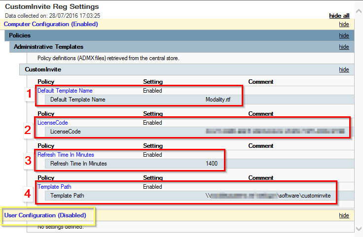 Modality Systems CustomInvite tool AD/GPO deployment an