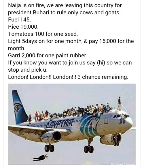 Lol. So Nigerians are travelling to London en-masse due to hardship?