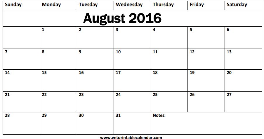 Get Printable Calendar : August 2016 Calendar Landscape Portrait A4 ...