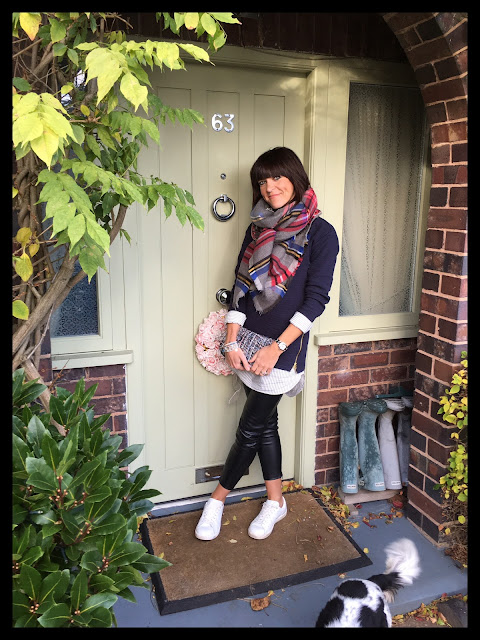 My Midlife Fashion, mango white leather trainers, zara faux leather leggings, zara tweed cross body bag, joules sweatshirt, striped ruffle shirt, joules oversized tartan scarf