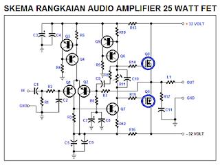 Skema Audio Amplifier 25 Watt Menggunakan Mosfet