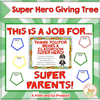 This Superhero Themed Giving Tree is perfect to get your supplies for Back-to-School Nite or Open House!