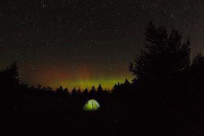 aurora, Big Dipper, over camping tent
