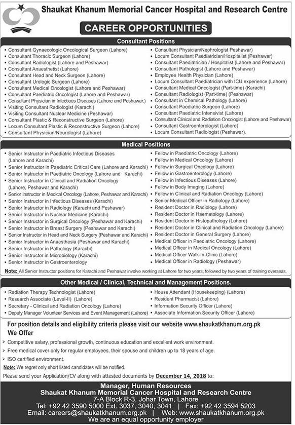 Jobs Vacancies In Shaukat Khanum Memorial Cancer Hospital 2 December 2018