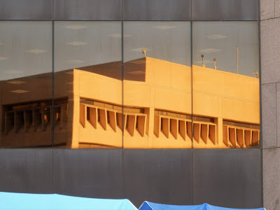 Mirror image of City Hall Annex (City of Houston) Bagby Street