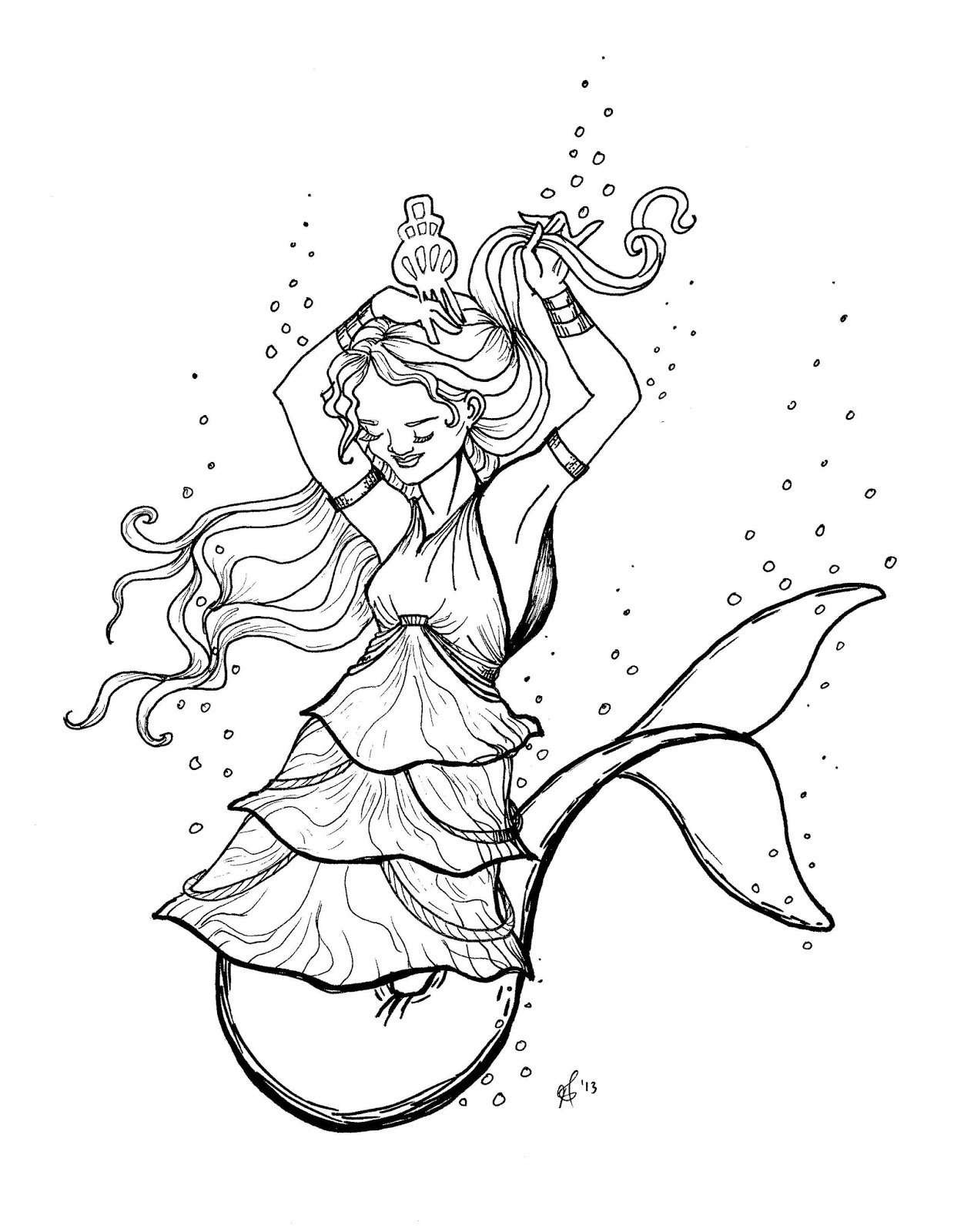 free Original Coloring Pages Mermaid Dolphin Tail tiered dress