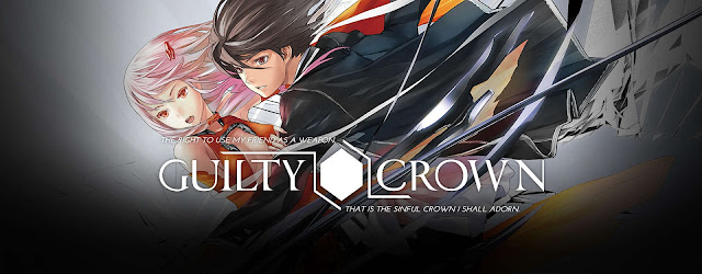 guilty crown quote banner with male and female lead characters