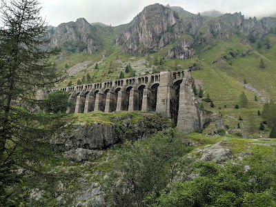 View of the Gleno Dam (La Diga del Gleno) which collapsed in 1923.