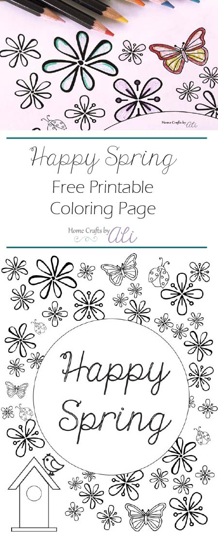 happy spring free printable coloring page pretty color pencils