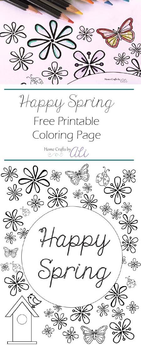 happy spring free printable coloring page pretty color pencils
