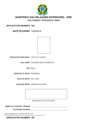 Pengalaman Mengurus Visa Brazil di Jakarta - Formulir Aplikasi Online