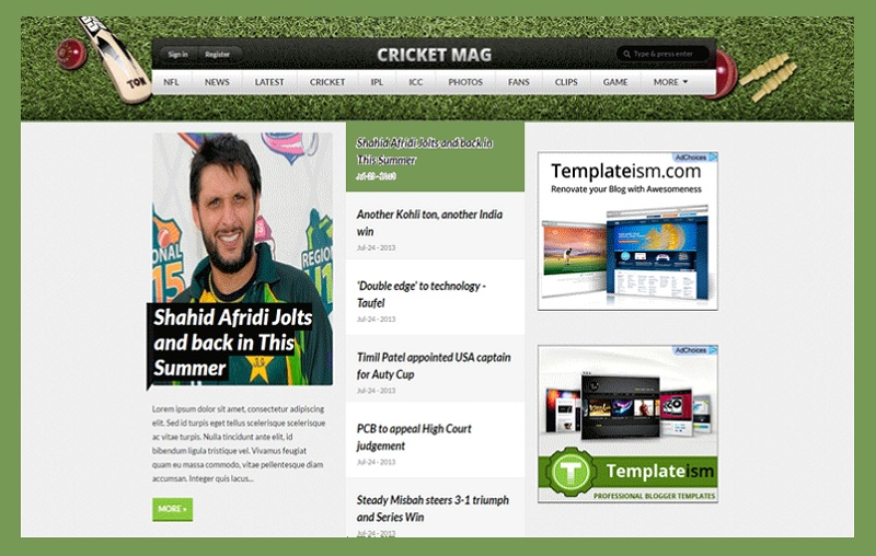 Cricket Mag Sports Blogger Template Free Download