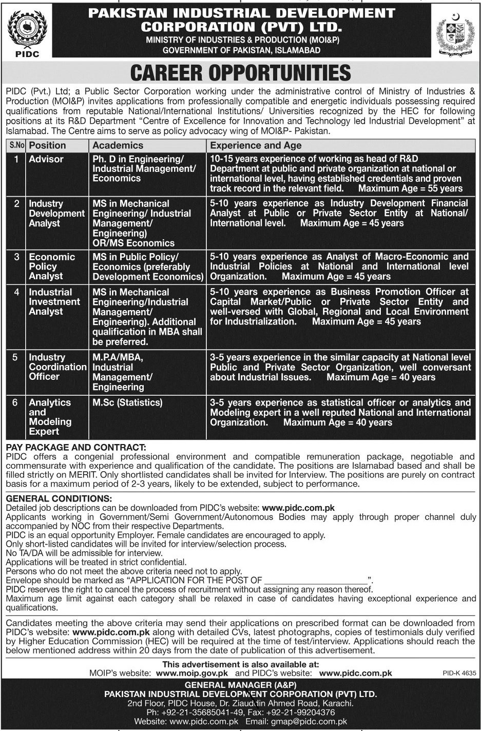 PIDC Jobs in Pakistan Industrial Development Corporation Islamabad  11 June 2017