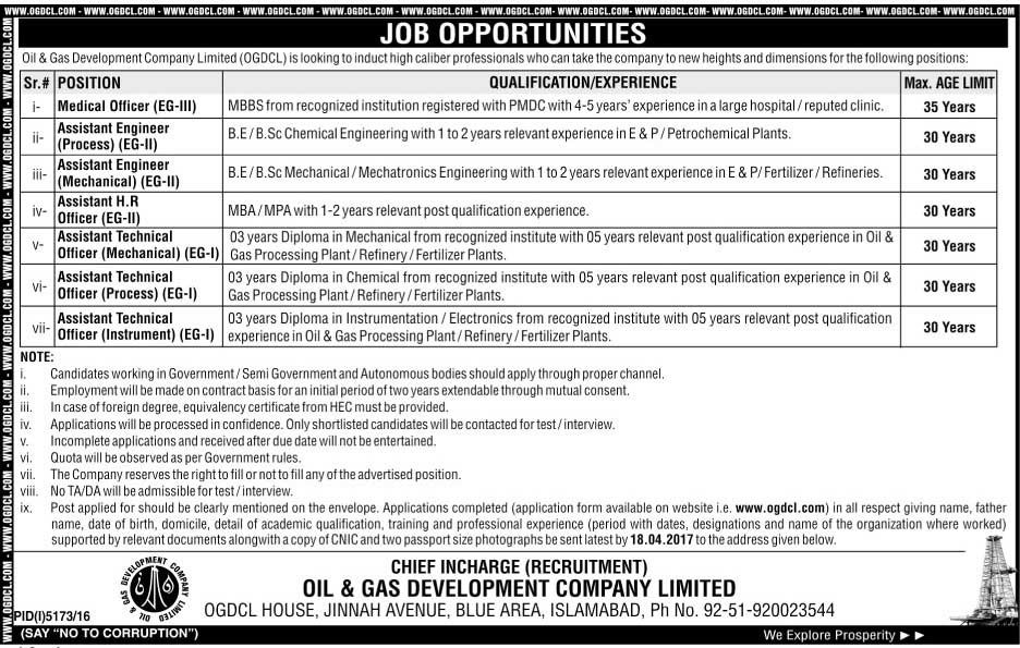 Islamabad Jobs in Oil and Gas Company Limited