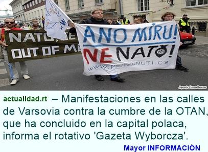 """Varsovia se despide de la cumbre de la OTAN con gritos de """"¡No a la guerra!"""" (Video, fotos)"""
