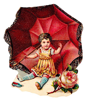 baby girl clipart victorian image umbrella digital download child