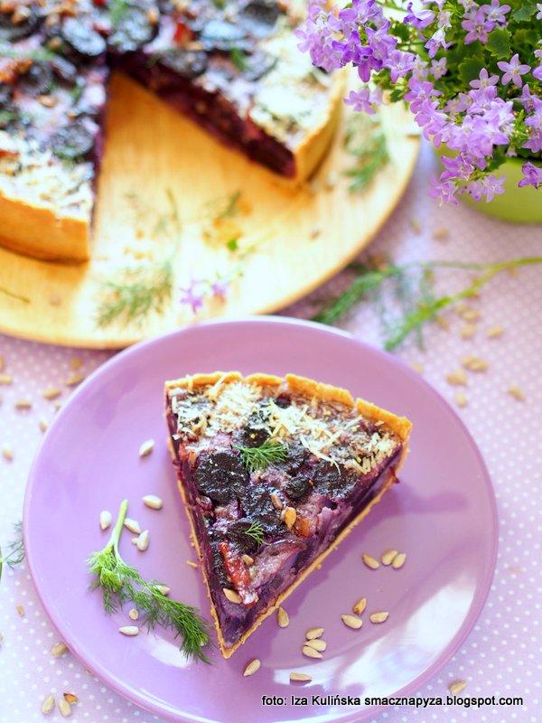 quiche z filetowa marchwia, marchewkowa tarta, czarna marchew, zapiekanka z marchewka, warzywa korzeniowe, kolory w kuchni, kolorowe danie