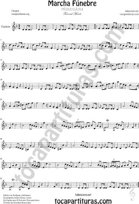 Marcha Fúnebre de Chopin Partitura de Clarinete Sheet Music Clarinet Funeral March