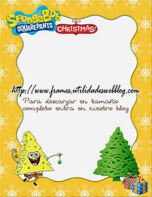 Marco de navidad y año nuevo inspirado en Bob Esponja