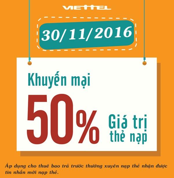 Khuyến mãi 50% giá trị thẻ nạp Viettel ngày 30/11/2016