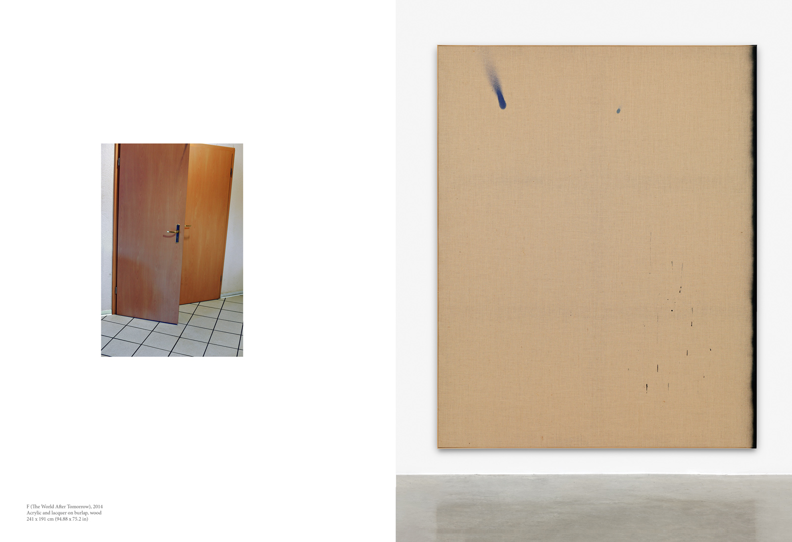 David Ostrowski, F (The World After Tomorrow), 2014, Acrylic and lacquer on burlap, wood, 241 x 191 cm