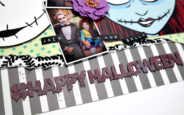 Chipboard Happy Halloween Hashtag Title Colored with Tattered Angels Pomegranate Glimmer Mist