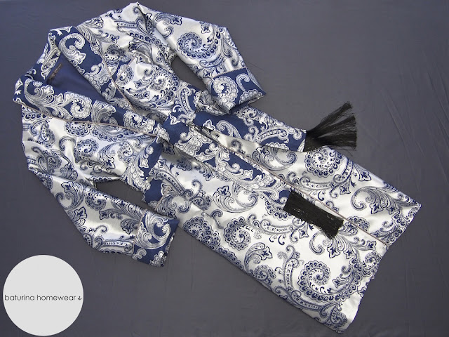 tassel dressing gown classic english silk paisley silver navy blue grey long jacquard warm thick lined sulka robe shawl lapel brocade luxury