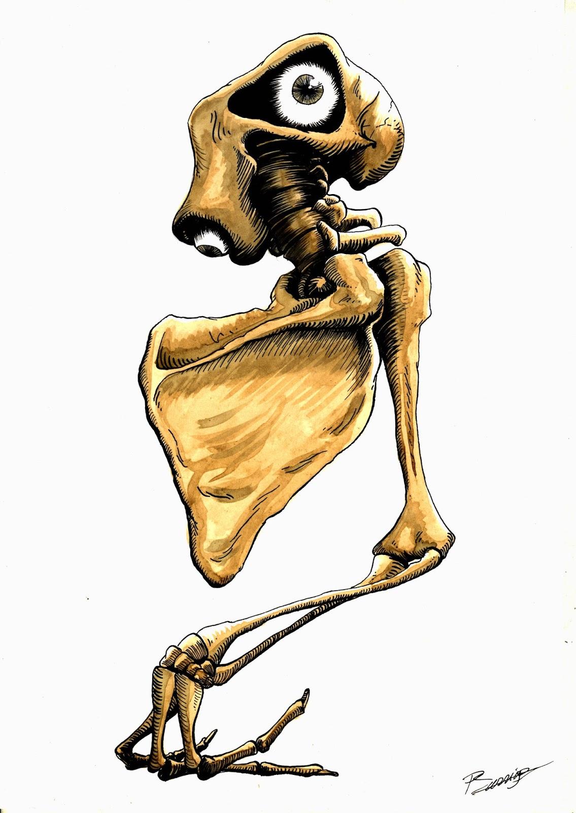 A4 Tinta china, cáscara de nuez- serie Macabre Anatomie