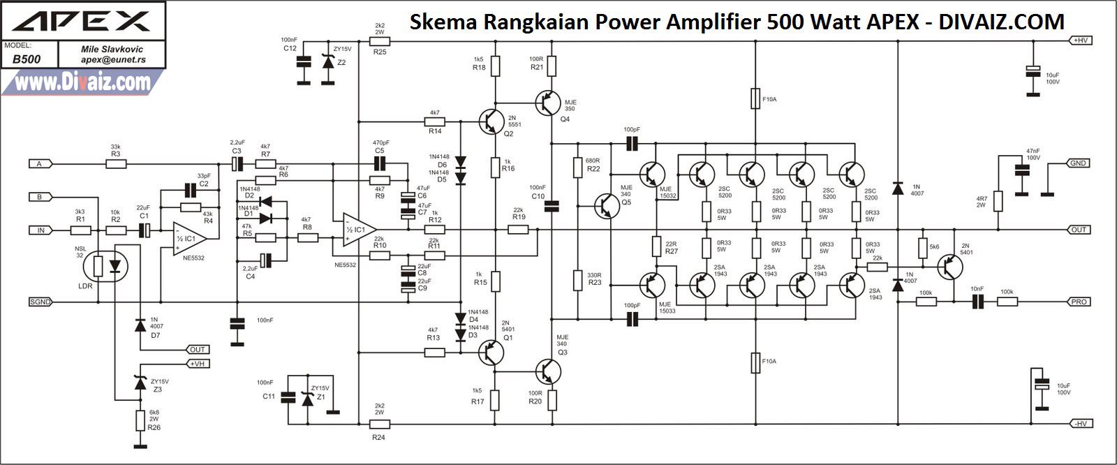 Skema Rangkaian Power Amplifier 500 Watt APEX - www.divaizz.com
