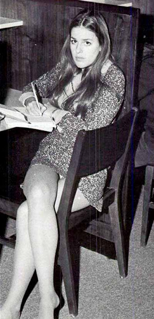 mini skirt in school with male teacher of the 1970s