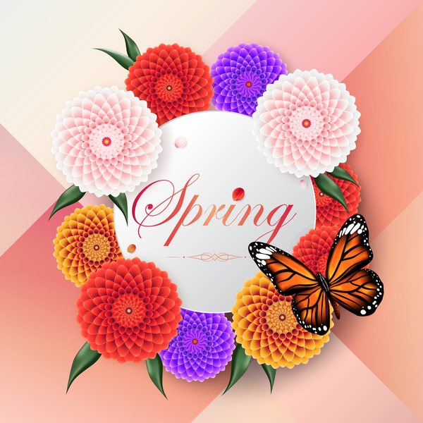 Spring circle card with butterfly vector download free vector