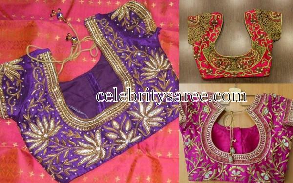 Pink Shades Thread Work Blouses - Saree Blouse Patterns