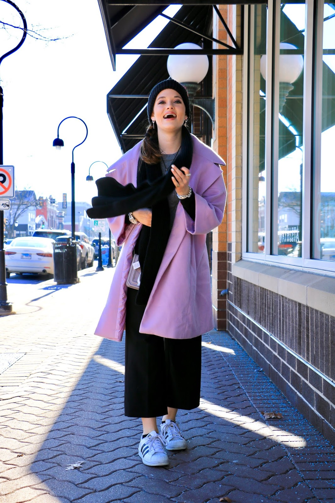 Nyc fashion blogger Kathleen Harper's purple coat outfit ideas