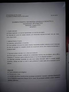 Subiecte informatica 2015 - grad didactic II Bucuresti