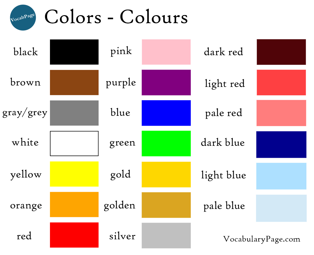 Vocabularypage Colours In English