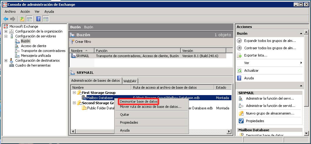 Desmontar base de datos en Microsoft Exchange 2007