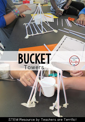 STEM Challenge! It's the famous bucket tower challenge! Kids must use a swinging bucket or cup that follows the task rules! Check the blog post for more challenges!
