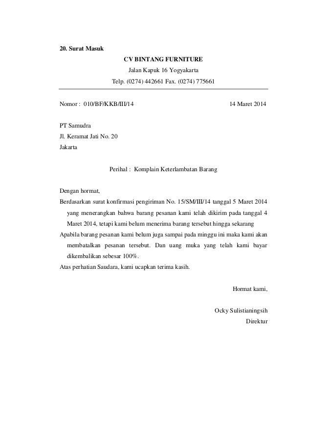 Contoh surat balasan pengaduan barangproduk contohsuratmu contoh surat balasan pengaduan keterlambatan pengiriman barang thecheapjerseys Images