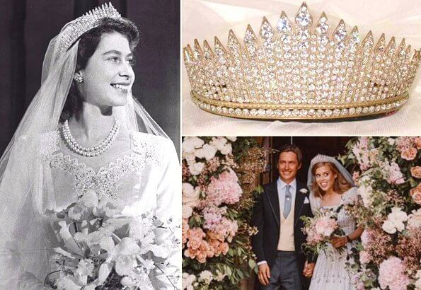 Princess Beatrice wore one of the Queen's vintage Norman Hartnell gowns and the Queen Mary diamond fringe tiara, wedding ceremony