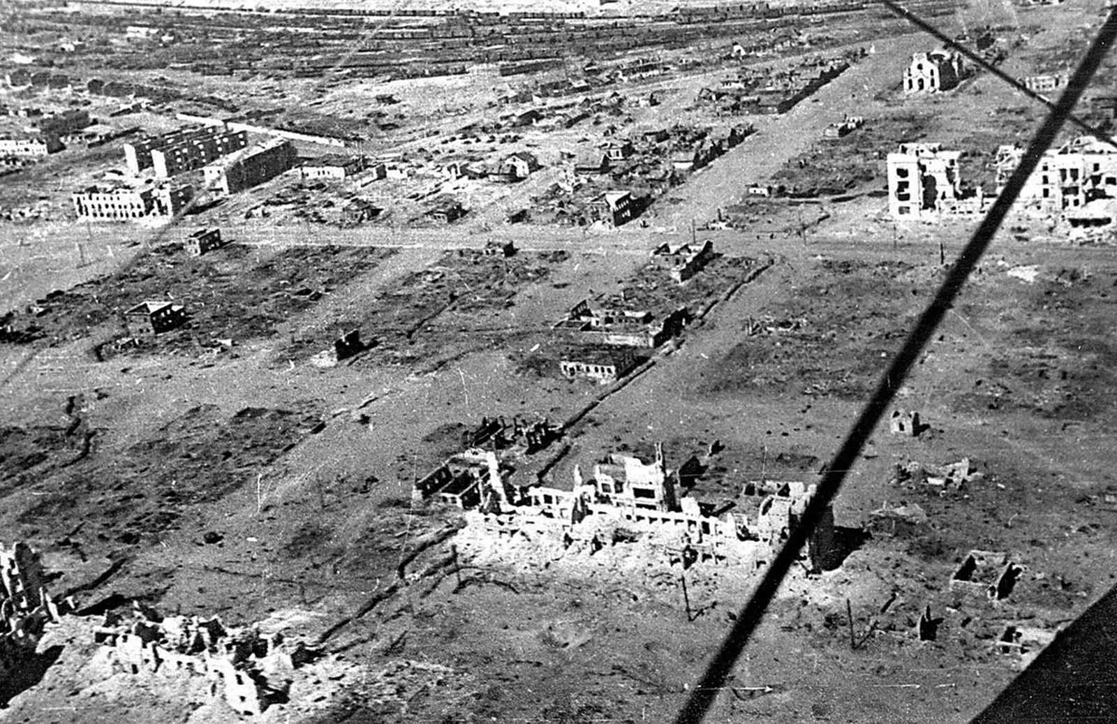 The ruins of Stalingrad -- nearly completely destroyed after some six months of brutal warfare -- seen from an aircraft after the end of hostilities, in late 1943.