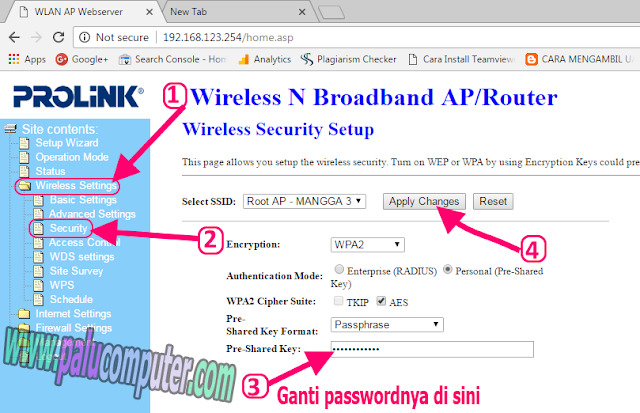 cara ganti password wifi prolink