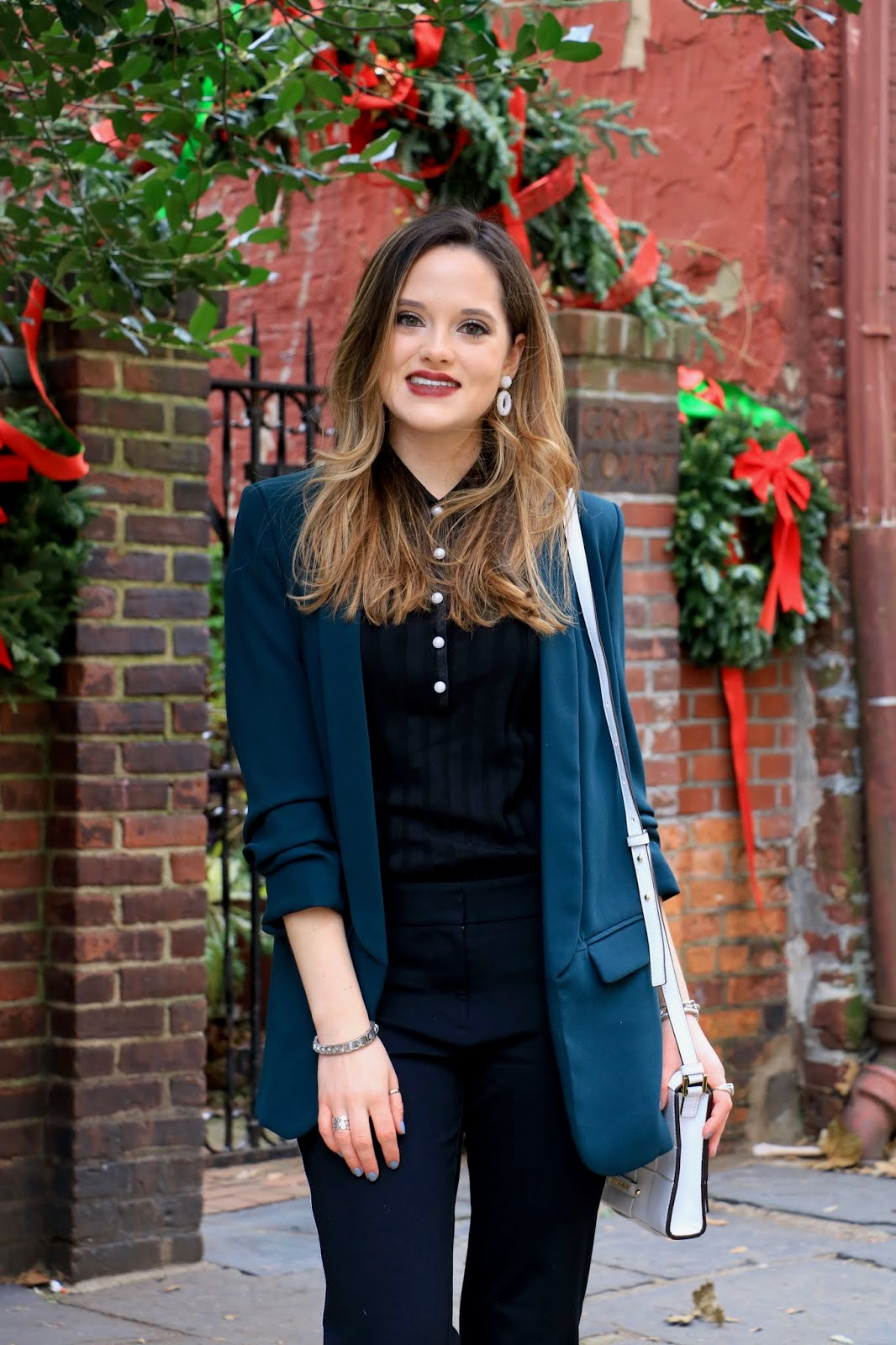 Nyc fashion blogger Kathleen Harper's holiday office party outfit